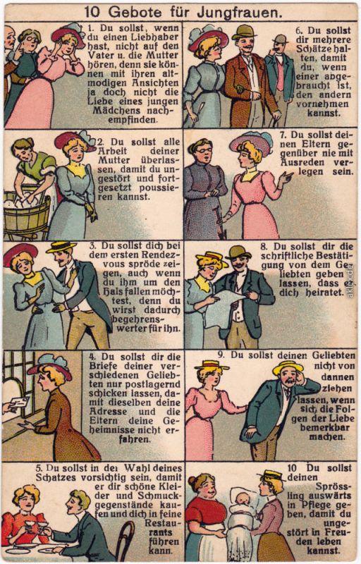 10 Gebote für Jungfrauen Ansichtskarte Scherzkarte  1914
