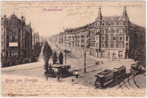 Johannstadt Striesen Dresden Fürstenstraße Kiosk und Straßenbahn 1903