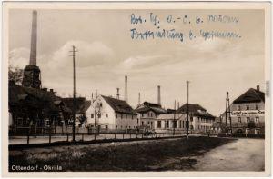 Ottendorf Okrilla Fabrik, Gasthof und Straße b Dresden Fotokarte  1931