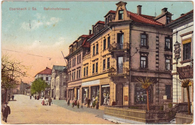 Ebersbach (Löbau Zittau) Oberlausitz Partie in der Bahnhofstraße 1914