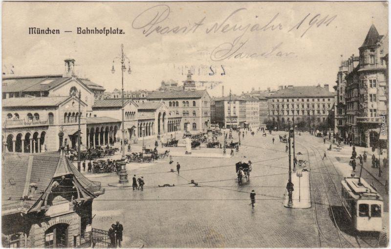Münchberg Bahnhof, Bahnhofsvorplatz und Straßenbahn 1910