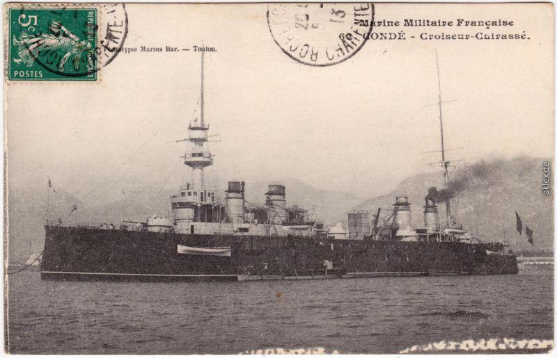 CPA Militaria  Marine Militaire  Francaise  - Conde Croiseur Cuirasse 1913