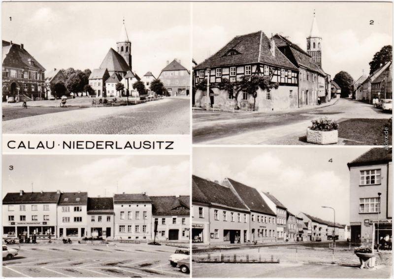 Calau Niederlausitz Platz des Friedens, Kirchstraße, Cottbuserstraße 1976