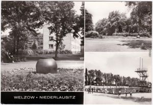 Welzow Niederlausitz AWG-Neubauten, Janpark, Schwimmbad b Senftenberg 1978