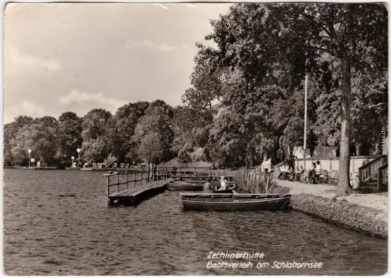 Foto Ansichtskarte  Zechlinerhütte Rheinsberg Bootsverleih am Schlabornsee 1969