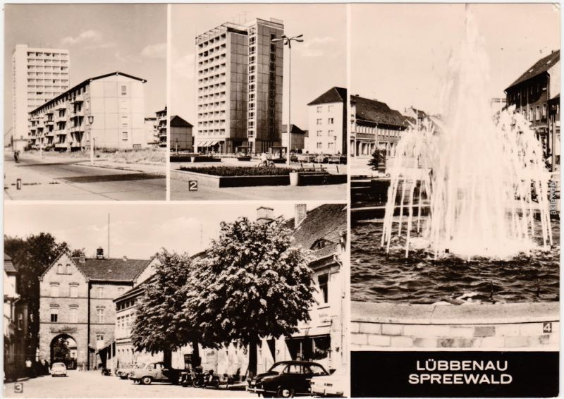Lübbenau (Spreewald)   Straße der Jugend, Roter Platz, Topfmarkt, Springbr