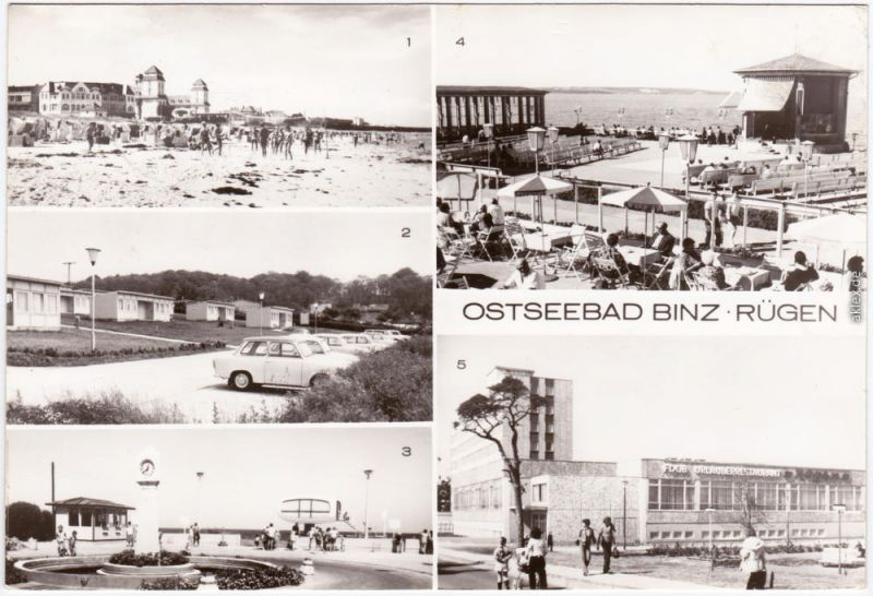 Binz (Rügen): Kurhaus, Urlauberdorf, Weg zum Strand, Erholungsheime 1979