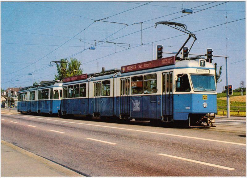 Ansichtskarte Zürich Gelenkwagenzug (Straßenbahn) 1985