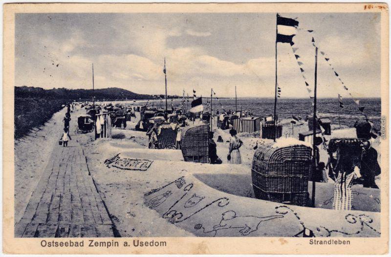 Zempin Strandleben, Strandkörbe Usedom b Wolgast Koserow  1929