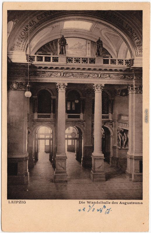 Ansichtskarte Leipzig Wandelhalle des Augusteums  Universität 1922