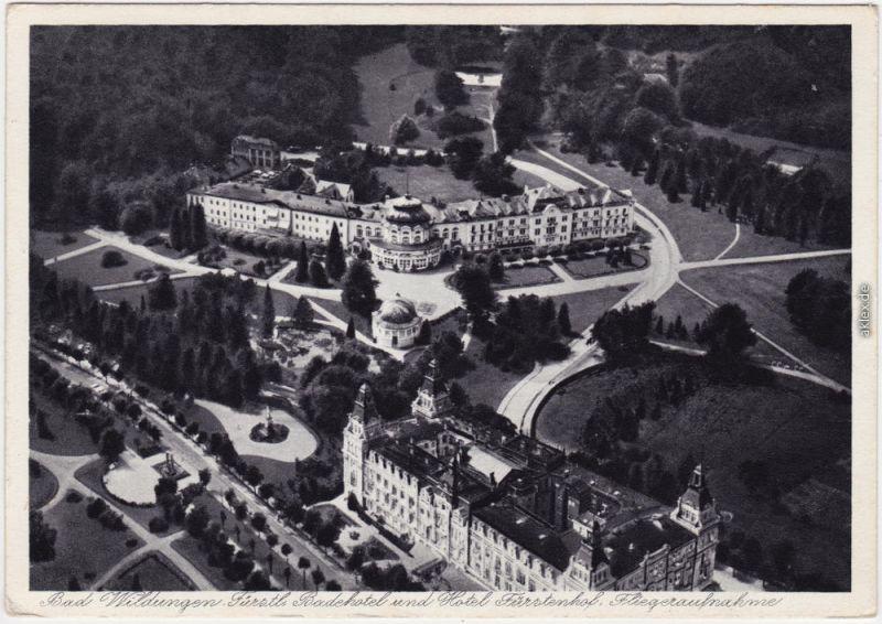 Bad Wildungen Luftbild mit Hotel Fürstenhof 1936