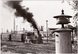 Radebeul Traditionsbahn Radebeul Ost-Radeburg, Bahnhof - Bahnsteig 1 1985