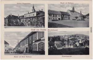 Dauba Dubá 4 Bild: Markt, Schloß, Hotel b Leipa Liberec Reichenberg1922