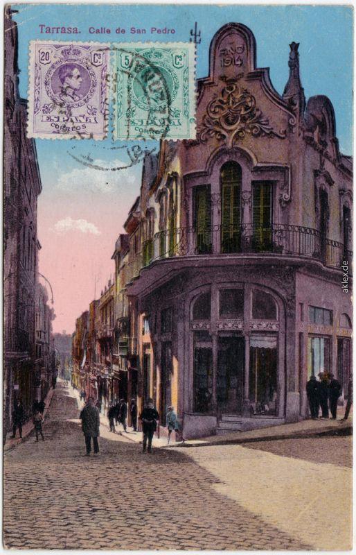 Terrassa Tarrasa Calle de San Pedro Vintage Postcard b Barcelona  1914