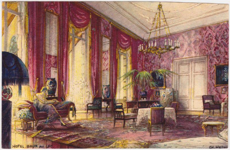 Ansichtskarte Zürich Künstlerkarte Baur au Lac - Salon 1914