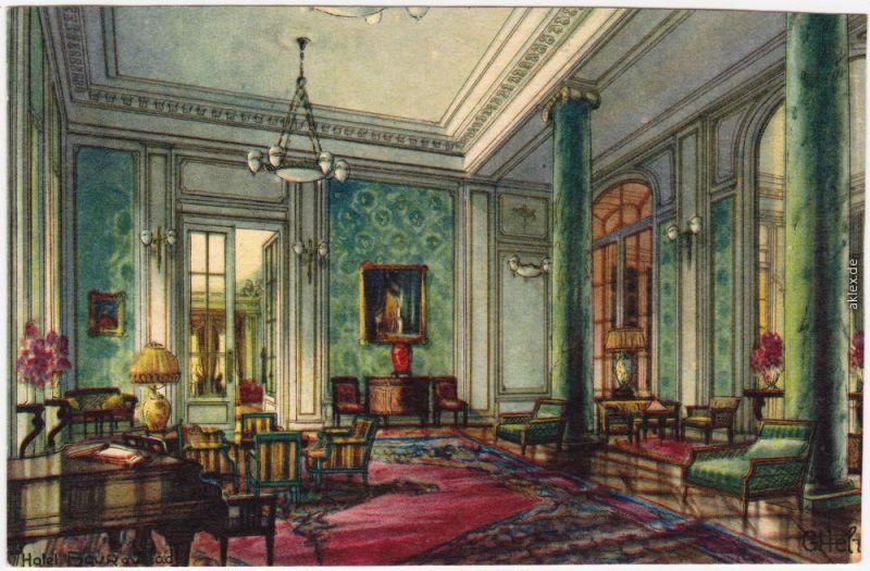 Ansichtskarte Künstllerkarte Zürich Musikzimmer - Baur au Lac 1914