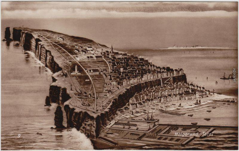 Ansichtskarte Helgoland Künstlerkarte - Helgoland 1930