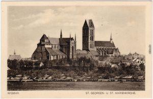 Ansichtskarte Wismar Ufer Blick St. georgen u. St. Marienkirche 1926