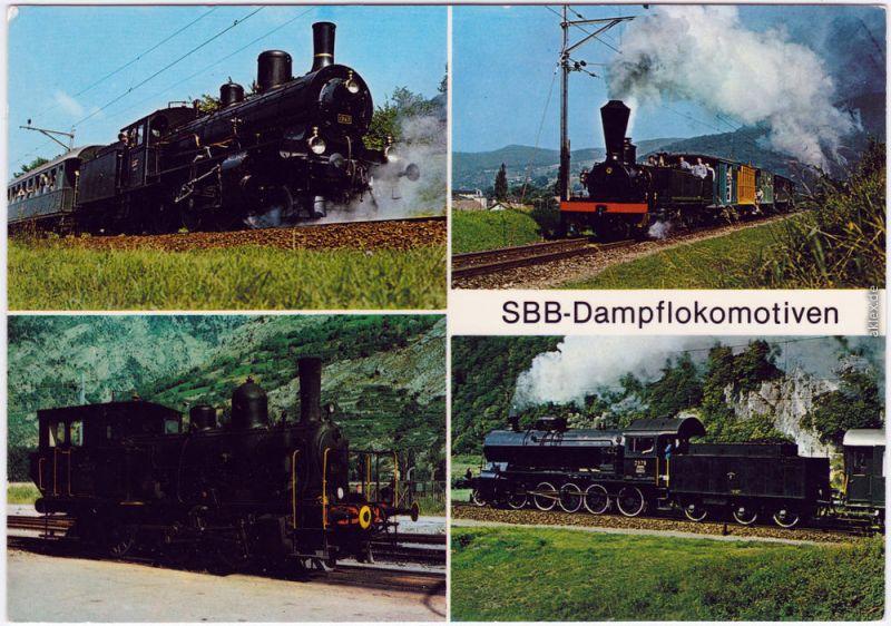 4 Bild Dampflokomotiven SBB Ansichtskarte Schweiz Eisenbahn 1985