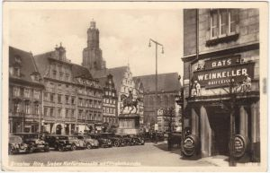 Breslau Wrocław Ring, Geschäfte, Autos Rats Weinkeller Raiffeisen Foto Ak 1935