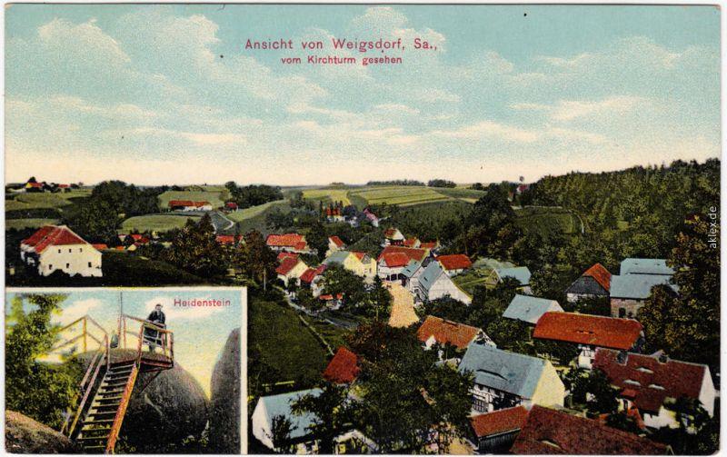 Weigsdorf b Bogytynia Reichenau  2 Bild:  Felsen und Stadt b Zittau 1914