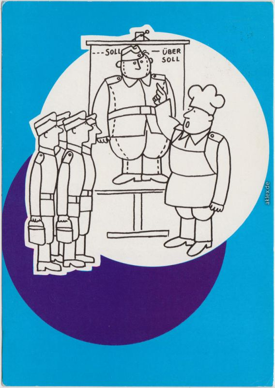 DDR Comic Zeichnung: Paul Klimpke, Berlin  DDR NVA Natioale Volksarmee  1976