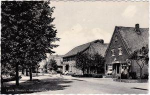 Foto Ansichtskarte Lahde Petershagen Bahnhofstraße - Geschäfte 1963