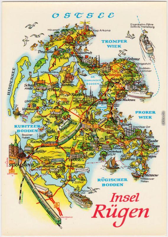 Rügen Einfache Landkarte von der Insel-Rügen 1982