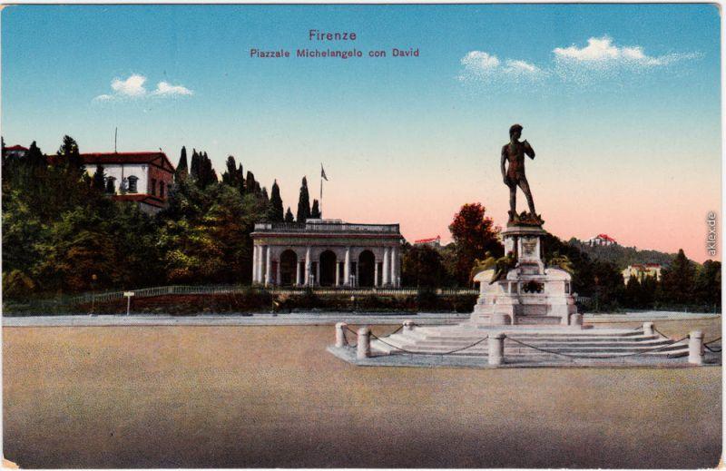 Florenz Firenze Piazzale Michelangel con David 1914
