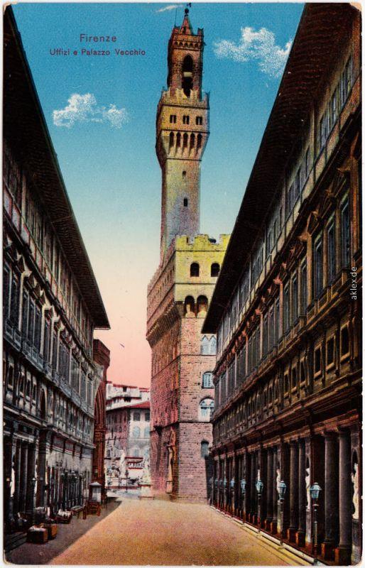 Ansichtskarte Florenz Firenze Uffizi a  Palazzo Vecchio 1916