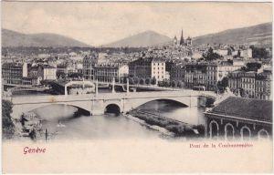 Genf Genève  Brücke - Pont de la Coulouvrenière CPA Ansichtskarte  1912