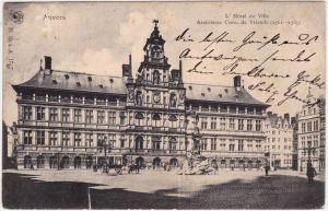 Antwerpen Anvers Partie am Rathaus Ansichtskarte CPA 1906