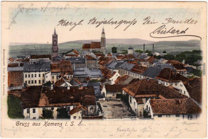 Kamenz Kamjenc Blick über die Dächer der Stadt Oberlausitz Ansichtskarte  1904