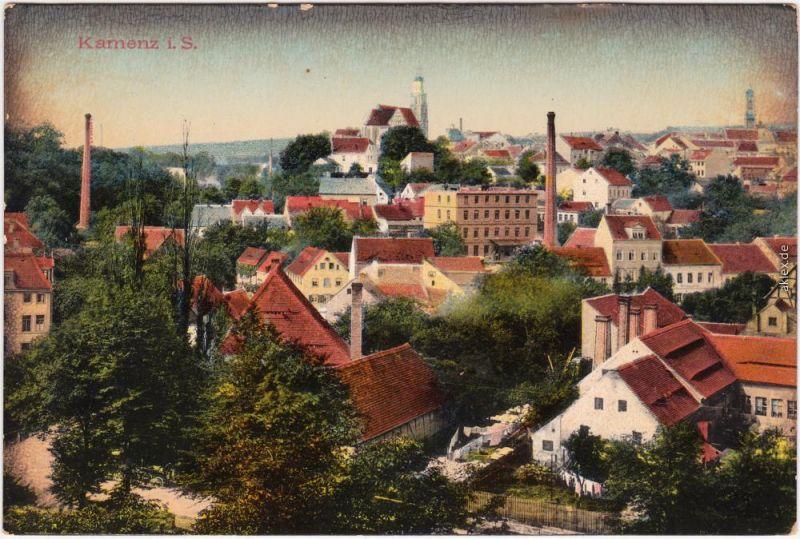 Kamenz Kamjenc Stadt und Fabriken  Ansichtskarte Oberlausitz  1916
