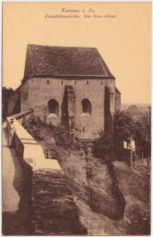 Kamenz Kamjenc Katechismuskirche Kamenz Ansichtskarte Oberlausitz  1922