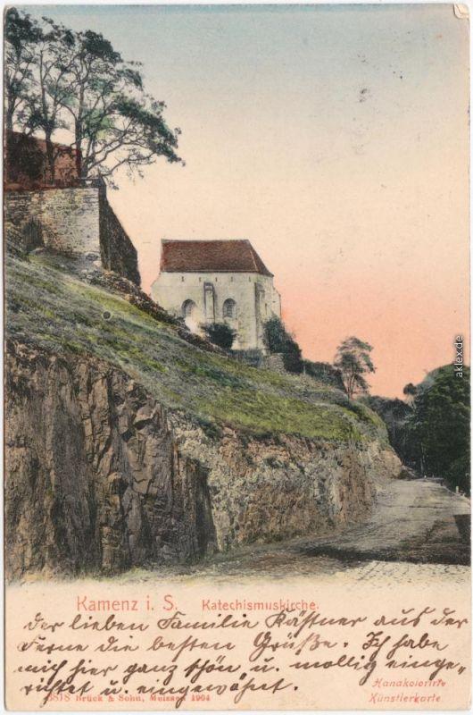 Kamenz Kamjenc Katechismuskirche Kamenz Ansichtskarte Oberlausitz 1906