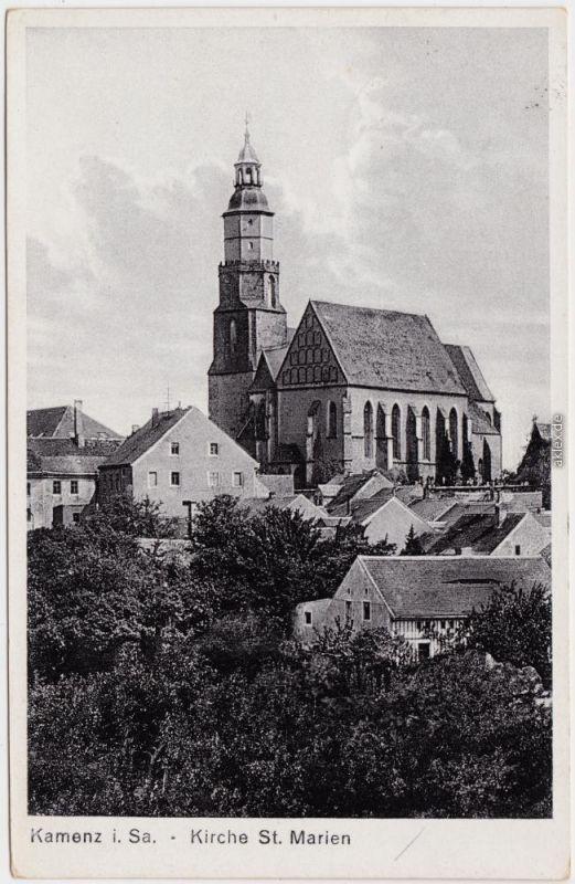 Kamenz Kamjenc Stadt und Kirche St. Martin Ansichtskarte Oberlausitz 1932