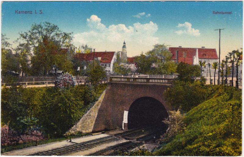 Kamenz Kamjenc Bahntunnel und Stadt Ansichtskarte Oberlausitz 1914