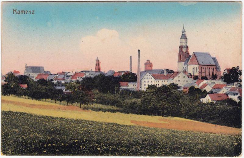 Kamenz Kamjenc Partie an der Stadt (coloriert) Oberlausitz  1915