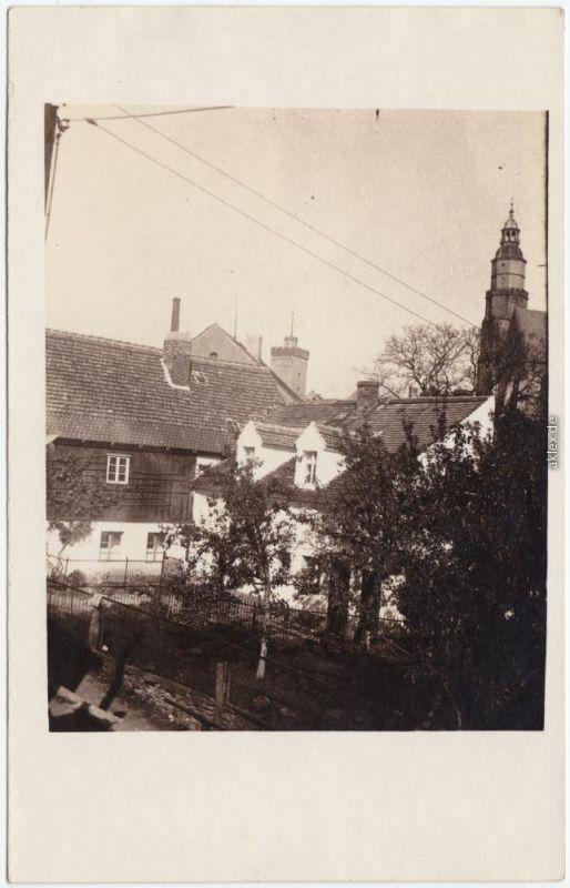 Kamenz Kamjenc Aufnahme eines Gehöftes - Kirche im Hintergrund Privatfoto 1924