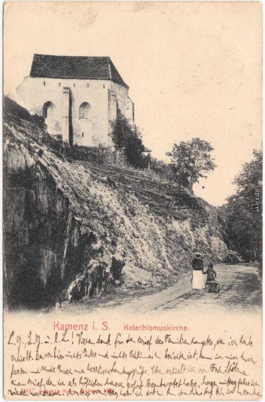 Kamenz Kamjenc Katechismuskirche Kamenz Ansichtskarte Oberlausitz 1912