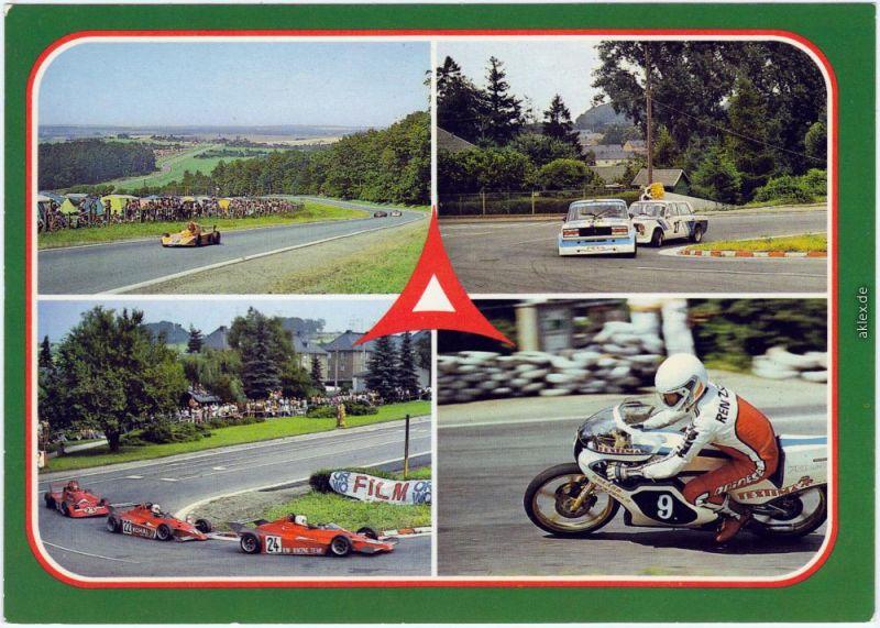 Ansichtskarte Schleiz Tourenwagen-Duell, Motorradrennen 1985