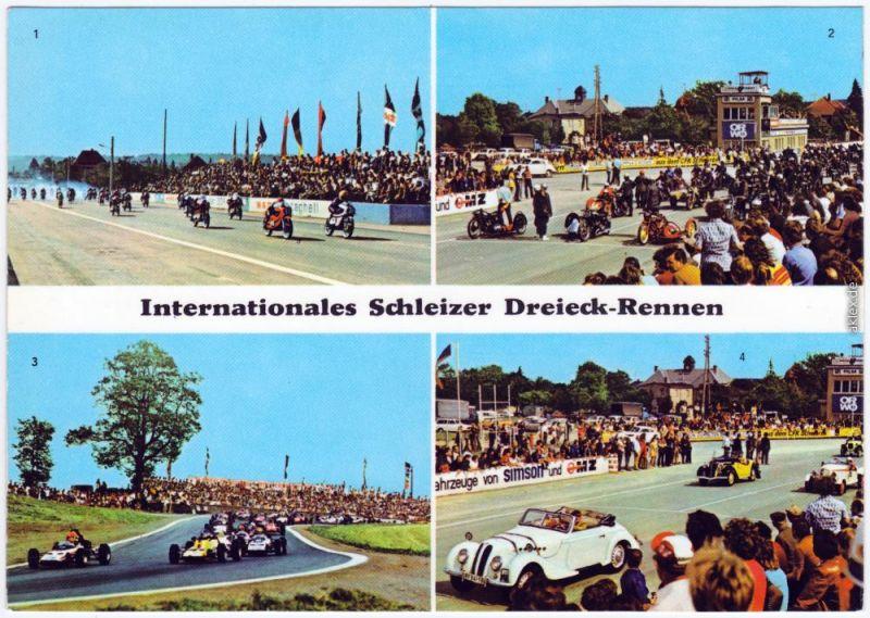 Schleiz Internationales Schleizer Dreieck-Rennen Ansichtskarte 1975