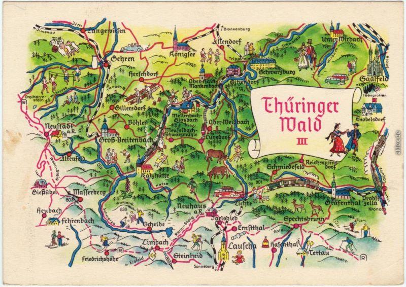 Thüringer Wald Karte.Karte Thüringer Wald Ansichtskarte Gehren Masserberg 1962