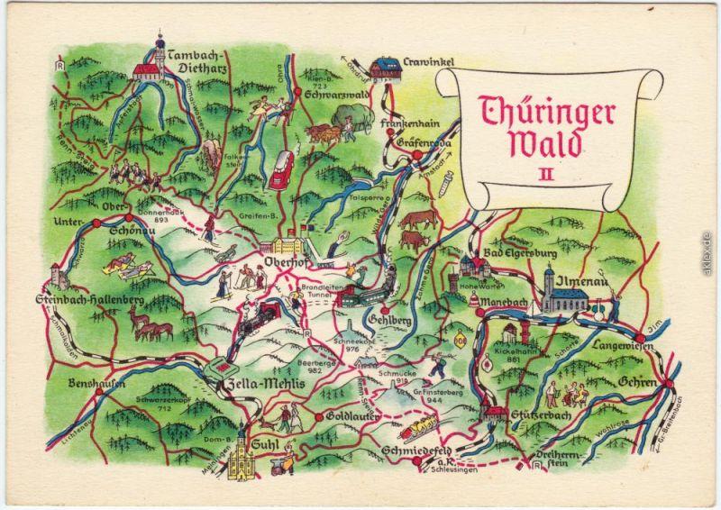 Thüringer Wald Karte.Karte Thüringer Wald Ilmenau Suhl Ansichtskarte 1962
