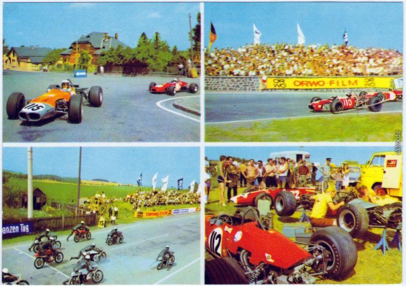 Schleiz Internationales Schleizer Dreieck-Rennen Ansichtskarte  1970