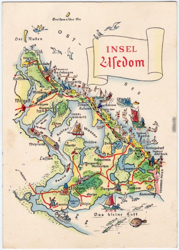 Insel Usedom Karte.Usedom Insel Usedom Als Karte Ansichtskarte Heringsdorf Wolgast 1962