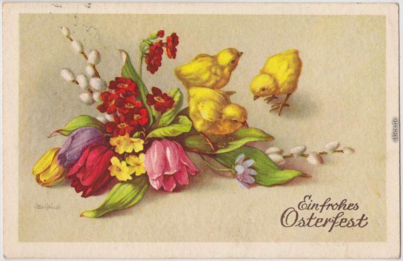 Ein frohes Osterfest Künstlerkarte Ansichtskarte 1952