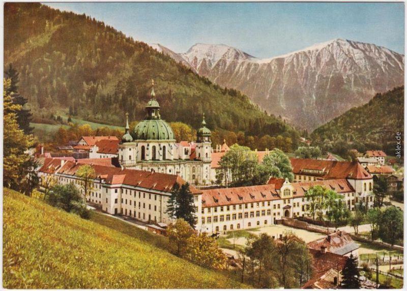 Ettal Benediktinerabtei Ettal, Gesamtansicht mit Krottenkopf (2086m) 1990