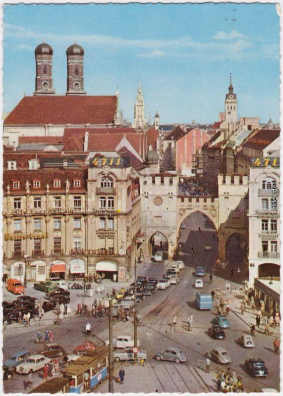 Muenchen-Stachus-Ansichtskarte-Verkehr-1